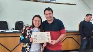 Vereador Claudio Batista e a intercambista Valeria Blanco Valenzuela,do México