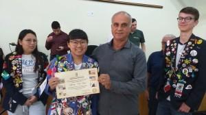 Presidente da Câmara Tadeu Machado e a Intercambista de Taiwan Wan-Shan