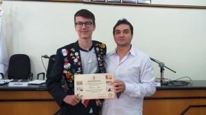 Vereador Marcelo Gorski e o intercambista Adrian Fink  da Alemanha