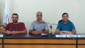 Mesa diretora de 2019,Vereador Tadeu Machado Presidente, Vereador Joel Oliveira Vice-Presidente e Vereador Dionathan Farias Secretário